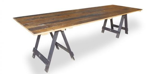 Wollongong party hire vintage timber trestle table 3m x 1m for Table 3m long