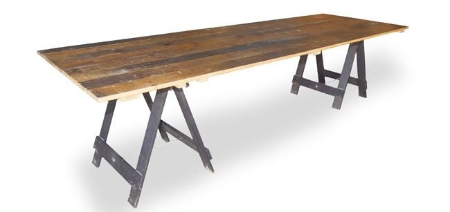 Wollongong Party Hire Vintage Timber Trestle Table 3m X 1m